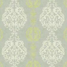 Wallpaper Contemporary Damask Stripe Grey Kiwi Green on Silver Gray Background