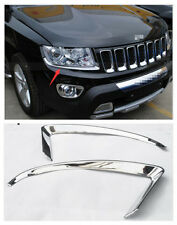 ABS Chrome Front Head Light Eyelid Cover Trim for Jeep Compass 2011-2016