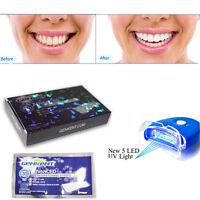 Teeth Whitening Strips + Laser UV 5 LEDs Light Tooth Whitener Kit Home Bleaching
