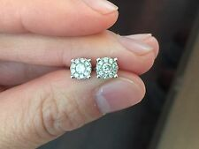 Prouds 9K White Gold Diamond Stud Earrings Was $1100 screwback posts Lovely