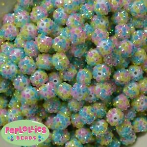 12mm Pastel Confetti Style Resin Rhinestone Bubblegum Beads Lot 40 pc.