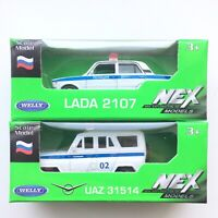 Welly SET of 2 LADA 2107 + UAZ Police Russian Cars 1:60 Scale Die-Cast Metal NEW