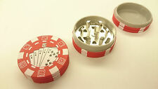 Red Poker Chip Style Grinder Tobacco Herb Spice Crusher 3 Layers Casino