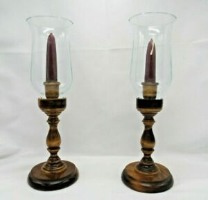 Vintage Hand Turned Wood Candlestick Candle Holders w/ Glass Hurricane Set of 2