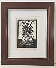 Hawaii 'Aloha Pineapple' Signed Linoleum Print Art