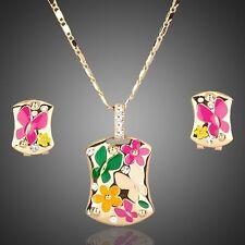 Designer Gold Plated Jewellery Set Flower Design Pendant Chain Necklace Earrings