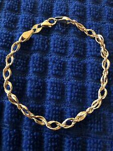 "Beautiful Chain Bracelet, 14 Karat Yellow Gold, 7"""