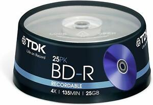 TDK T78301 25GB 1-4x Recordable BD-R - Cakebox 25 Pack-
