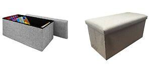 Ottoman Storage Box Bench Stool Cube Seat 76 x 38 x 38cm Grey/Beige Padded Seat