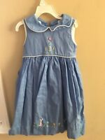 Strasburg 4T Sun Dress Blue Bunny Easter Flowers Spring Bumble Bee Boutique Coll
