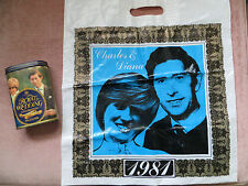 SOUVENIR SHARP'S SWEET TIN & CARRIER BAG 1981 ROYAL WEDDING CHARLES & DIANA