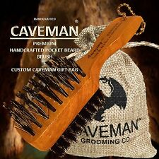 Handcrafted Pocket Club Beard Brush 100% Natural Bristle Beard by Caveman®