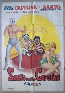 "SANTO CONTRA CAPULINA Ptd In Egypt 30x40"" Caspar Henaine Film Movie Poster 1970"