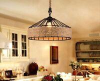 Vintage Retro Industrial Loft Hemp Rope Iron Pendant Ceiling Light Retro Lamp UK