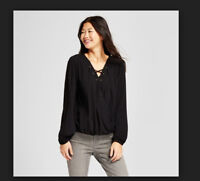 ✅ Women's Long Sleeve V Neck Top Mossimo Supply Co.™ Black by Mossimo Supply Co.
