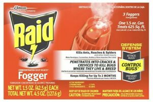 🔥3-Pack Raid Concentrated Deep Reach Dry Fogger for Roaches & Fleas