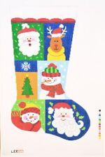 "Needlepoint Handpainted LEE Christmas STOCKING Sampler 2  23"""