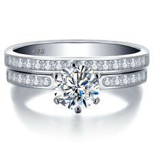 Lovely Wedding /Engagement Set Ring W/ 1.5 Carat CZ in 925 Sterling silver Sz 7