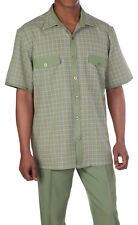 Mens' Summer Leisure Suit/ Walking Suit with check design Olive Milano stye 2953