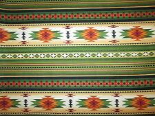 Navajo Native American Green Orange Border Print Cotton Fabric FQ