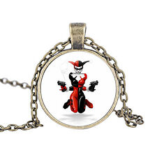 "HARLEY QUINN GLASS PICTURE PENDANT NECKLACE 24"" CHAIN SUICIDE SQUAD IN GIFT BAG"