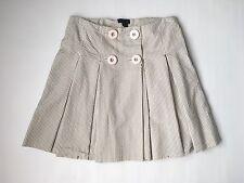 J. crew mini skirt 4 new gray white striped button knee pleated A line pocket