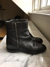 PRADA SPORT WOMEN LEATHER Zip FLAT ANKLE BOOTS BOOTIES BLACK used 36 / 3
