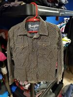 Boy's Wrangler Retro Blue Brown Design Long Sleeve Western Shirt Size Small