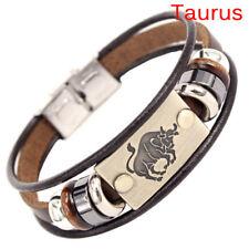 Stainless Steel Clasp Leather Bracelet 12 Zodiac Signs Bracelet Men Jewelry WG