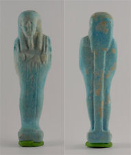 Egypt Late period 26th dynasty turquoise faience shabti for Nes-min