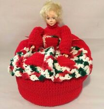 Vtg.Plastic Grocery Bag Dispenser Holder Porcelain Old Lady in Red Crochet Dress