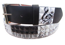 Music Notes Piano Whites Studded Leather Belt Jeans Dress Casual Party Punk Goth