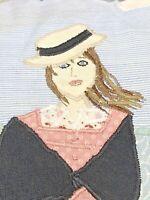 Vintage Pillow Needlework Folk Art Hippie Farm Girl Artist Designed Romantic