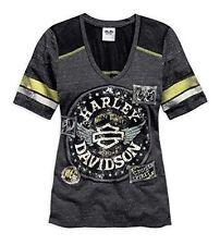 Harley Women's Knit Unique Yoke Cruiser Spirit Tee Short Sleeve Shirt 96342-15VW
