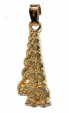 Lucky 7 Elephants Luck Pendant 18k Gold Plated Good Luck with 20 inch Chain