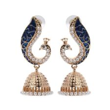 Retro Indian Peacock Jhumka Jhumki Drop Earrings Gypsy Jewelry