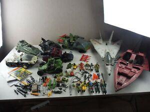 Lot d'anciennes figurines GI Joe, avion, bateau, véhicules, accessoires, vintage