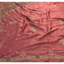 Sanskriti Vintage Indian Saree Satin Silk Hand Beaded Ethnic Fabric Premium Sari