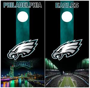 Philadelphia Eagles Green City Cornhole Board Wraps vinyl Skins HIGH QUALITY!