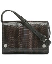 Calvin Klein Susan Small Snakeskin Python Crossbody Clutch Black/Brown Bag NWT