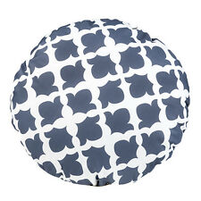 "Arabesque Charcoal 15"" Round Ethnic Outdoor Water Resistant Scatter Cushion"