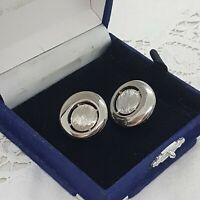 VINTAGE Modernist Style Clip-On Earrings Silver Tone Round Circled Textured Bold
