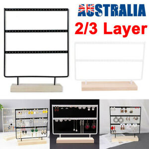2/3 Layer Wooden Earring Display Stand Holder Jewelry Necklace Rack Organizer AU