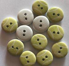 12 Tennis Balls Wood Buttons -13mm- Sewing,Craft,Scrapbooking,Quilting