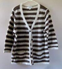 CJ Banks Sz. 1X Womens Sweater Jacket Brown/Cream