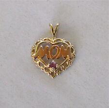10k Gold Filigree Heart Pendant w/ Ruby & Rose Gold MOM~~Free Shipping!