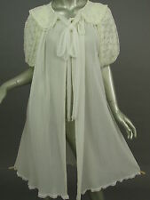 Vintage 40s 50s GMc Off White Peignoir Robe Sheer Chiffon Lace Bridal Lingerie S