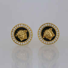 Versace Diamond and Onyx Earrings 18ct Yellow Gold