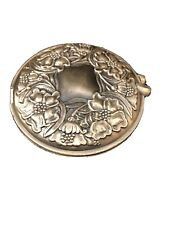 Vintage Pewter Compact With Mirror And Photo Holder. Beautiful Floral Design