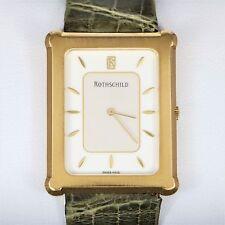 Vintage Men's Rothschild 18K Solid Yellow Gold Rectangle Alligator Quartz Watch